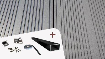 Komplett-Set TITANWOOD XL-Diele grau Rillenstruktur
