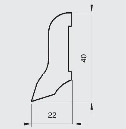 Wicanders Sockelleisten - Holz-Funiert - Kork Struktur - 22x40x2400 mm