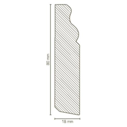 Sockelleisten Echtholz - 18 x 80 mm - Kiefer weiß lackiert
