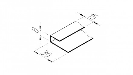 planeo VinyTec U-Starter-und Abschlussprofil 6000 x 15 x 8 x 30 mm