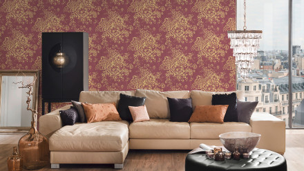 Textiltapete Metallic Silk Architects Paper Landhausstil Blumen Rot Metallic 576
