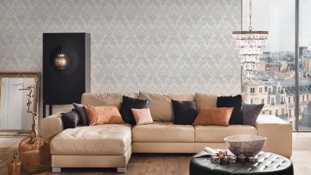 Textiltapete Metallic Silk Architects Paper Ornamente Weiß Metallic 591