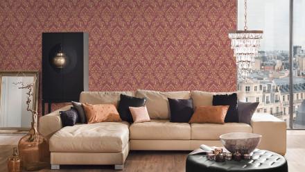 Textiltapete Metallic Silk Architects Paper Ornamente Rot Metallic 596