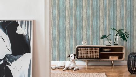Vinyltapete blau Modern Holz Elements 932