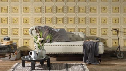 Vinyltapete beige Retro Landhaus Ornamente Streifen Hermitage 10 411