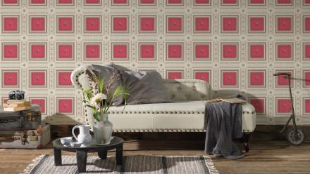 Vinyltapete rot Retro Landhaus Ornamente Streifen Hermitage 10 413