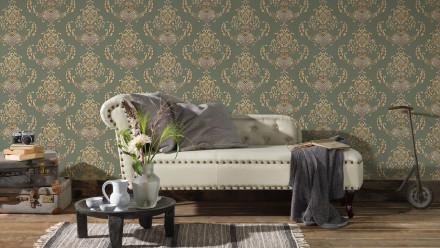 Vinyltapete grün Landhaus Barock Vintage Ornamente Hermitage 10 464