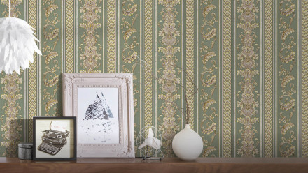 Vinyltapete grün Barock Landhaus Retro Streifen Hermitage 10 474