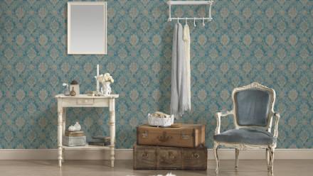 Vinyltapete blau Landhaus Vintage Ornamente Styleguide Natürlich 2021 075
