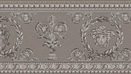 Vinyltapete Bordüre grau Landhaus Barock Retro Ornamente Blumen & Natur Versace 3 053