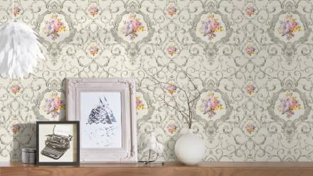 Vinyltapete grau Landhaus Retro Barock Ornamente Blumen & Natur Château 5 913