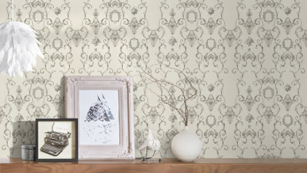 Vinyltapete grau Landhaus Retro Barock Ornamente Blumen & Natur Château 5 923