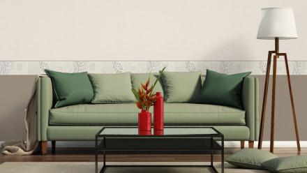 Vinyltapete Bordüre grau Modern Blumen & Natur Only Borders 10 212