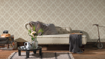 Vinyltapete beige Retro Landhaus Barock Blumen & Natur Ornamente Château 5 921