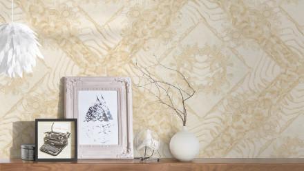 Vinyltapete beige Klassisch Vintage Landhaus Ornamente Bilder Versace 3 044