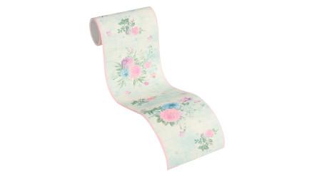 Tapete Djooz 2 Livingwalls Vintage Bordüre Kariert Blumen Bunt Grün Rosa 763