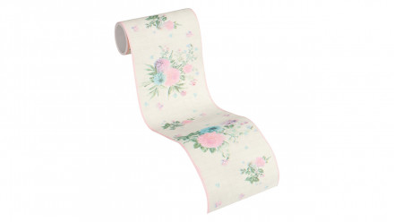 Tapete Djooz 2 Livingwalls Vintage Bordüre Kariert Blumen Bunt Creme Rosa 765