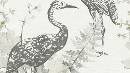 Vinyltapete Four Seasons A.S. Création Landhausstil Vögel Natur Grau Gelb Schwarz 923