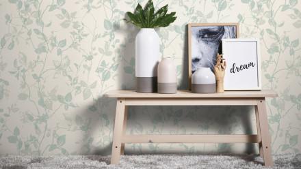 Vinyltapete Hygge Living Landhausstil Walls Blätteroptik Creme Grau Grün 972