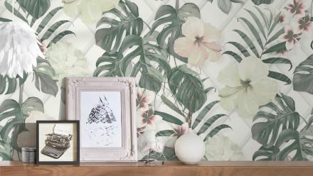 Tapete Dream Again Michalsky Living Blumen Palmenblätter Grün Weiß Grau 182