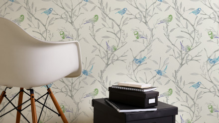 Vinyltapete blau Modern Blumen & Natur Colibri 231