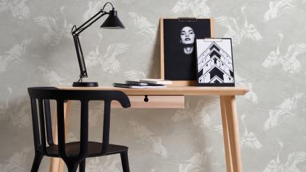 Vinyltapete grau Modern Landhaus Blumen & Natur Linen Style 311