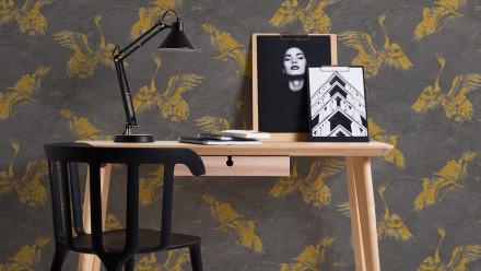 Vinyltapete gelb Modern Landhaus Blumen & Natur Linen Style 313
