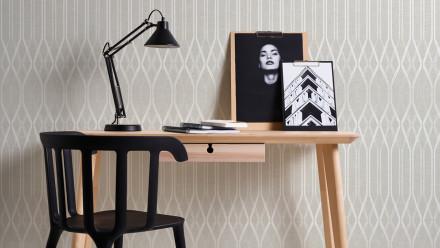 Vinyltapete grau Modern Landhaus Streifen Ornamente Linen Style 321