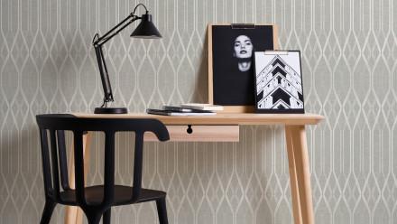 Vinyltapete beige Modern Landhaus Streifen Ornamente Linen Style 322