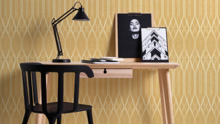 Vinyltapete gelb Modern Landhaus Streifen Ornamente Linen Style 323