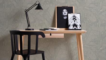 Vinyltapete grau Modern Blumen & Natur Linen Style 332