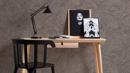 Vinyltapete grau Modern Blumen & Natur Linen Style 334