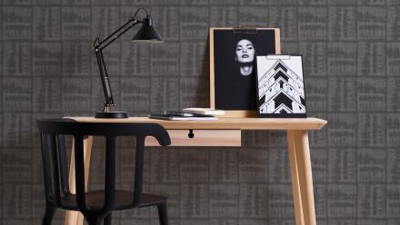 Vinyltapete schwarz Modern Landhaus Streifen Linen Style 371