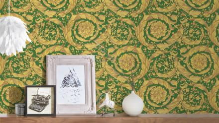 Vinyltapete grün Klassisch Vintage Landhaus Ornamente Bilder Versace 4 926