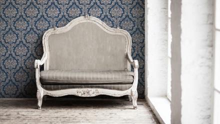 Vinyltapete blau Vintage Retro Landhaus Blumen & Natur Ornamente Paradise Garden 167