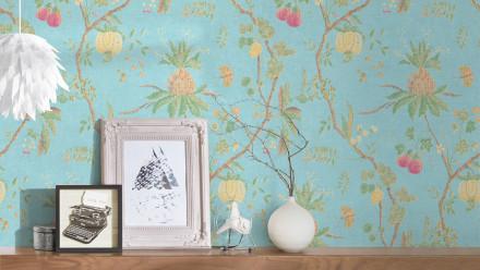 Vinyltapete blau Vintage Landhaus Blumen & Natur Paradise Garden 195