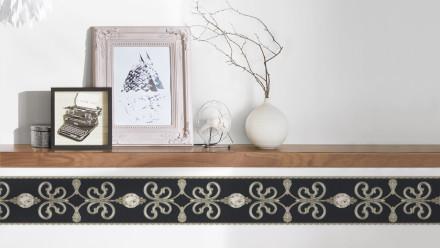 Vinyltapete Bordüre grau Vintage Landhaus Barock Blumen & Natur Ornamente Only Borders 10 271