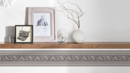 Vinyltapete Bordüre grau Vintage Landhaus Barock Blumen & Natur Ornamente Only Borders 10 311