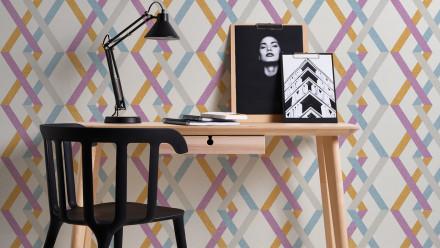 Vinyltapete grau Modern Ornamente Streifen Linen Style 592