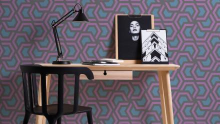 Vinyltapete lila Modern Ornamente Streifen Linen Style 601