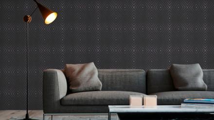 Vinyltapete schwarz Modern Klassisch Uni Streifen Trendwall 853