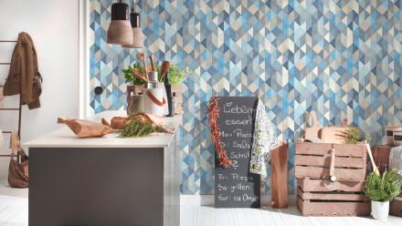 Vinyltapete blau Modern Klassisch Uni Streifen Trendwall 863