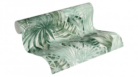 Vinyltapete Greenery A.S. Création Landhausstil Palmenblätter Grün Weiß 201