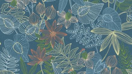 Vinyltapete Designpanel blau Modern Blumen & Natur Bilder Pop.up Panel 3D 291