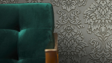 Vinyltapete Metropolitan Stories Lizzy - London Living Ornamentewalls Beige Grau Metallic 981