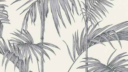 Vinyltapete Metropolitan Stories Lola - Paris Livingwalls Modern Palmenblätter Grau Metallic Weiß 192