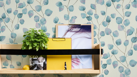 Vinyltapete Greenery A.S. Création Landhausstil Eukalyptus Weiß Blau 444