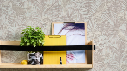 Vinyltapete Greenery A.S. Création Landhausstil Palmenblätter Creme Beige Weiß 102