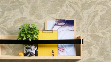 Vinyltapete Greenery A.S. Création Landhausstil Blätter Beige Metallic Creme 191