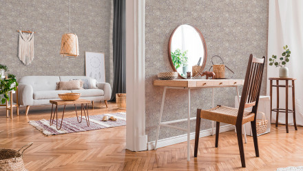 Vinyltapete New Walls Finca Home Living Retro Ornamentewalls Grau Weiß 912